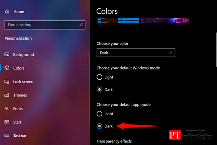 Как включить темную тему Windows4