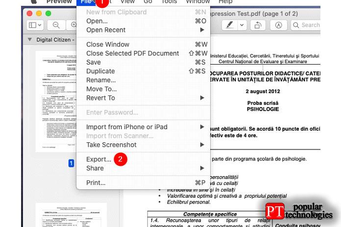 Открытие PDF-файла врежиме предварительного просмотра наMac ивыбор его экспорта