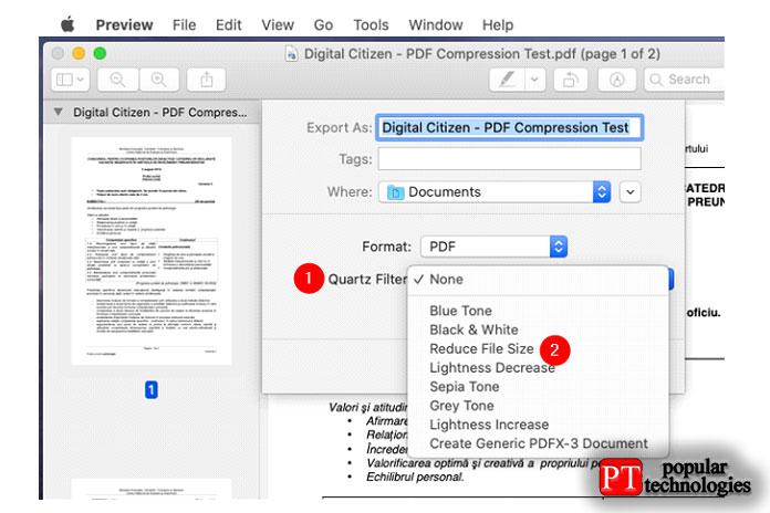 Выбор уменьшения размера файла для уменьшения размера PDF