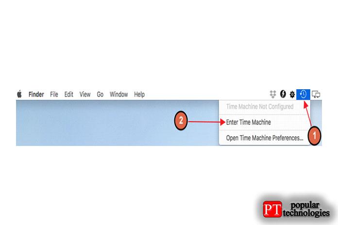 Щелкнитезначок Time Machine встроке меню, чтобы запустить программу