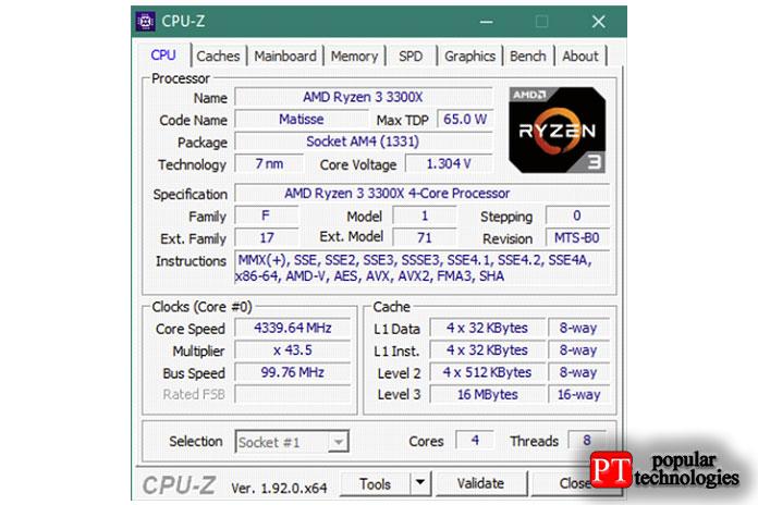 CPU-Z подробности о AMD Ryzen 3 3300X