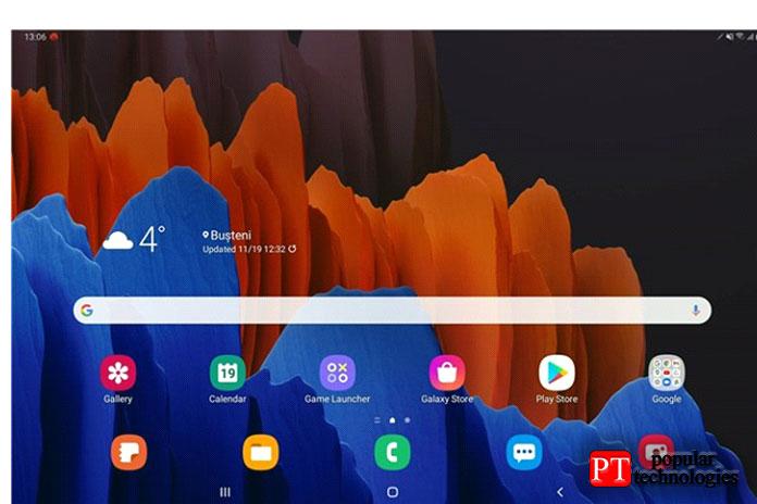 Домашний экран Samsung Galaxy Tab S7+