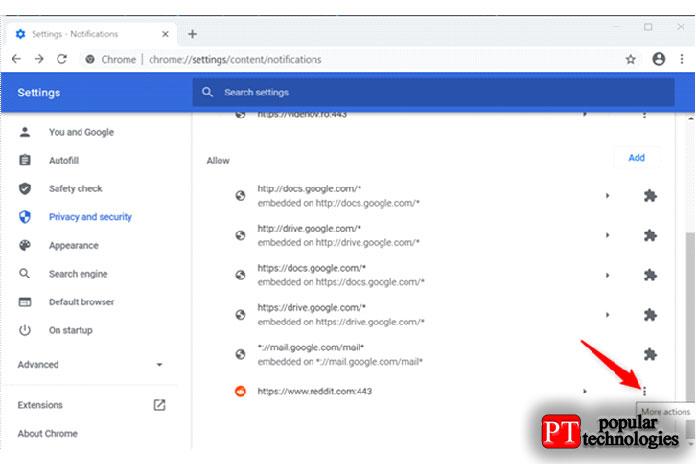 Нажмите дополнительные действия, чтобы отключить уведомления Chrome для Reddit