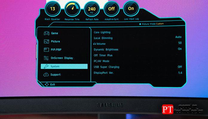 Обзор Samsung Odyssey G7 OSD
