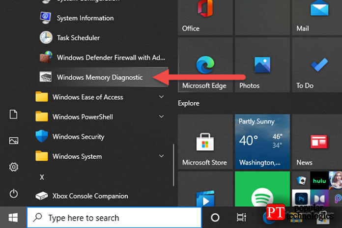Откройте средство диагностики памяти Windows из меню Пуск