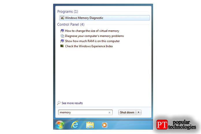 Поиск диагностики памяти Windows вWindows 7