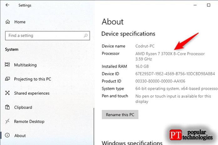 Посмотрите, какой процессор находится внутри вашегоПК, спомощью приложения Windows 10Settings