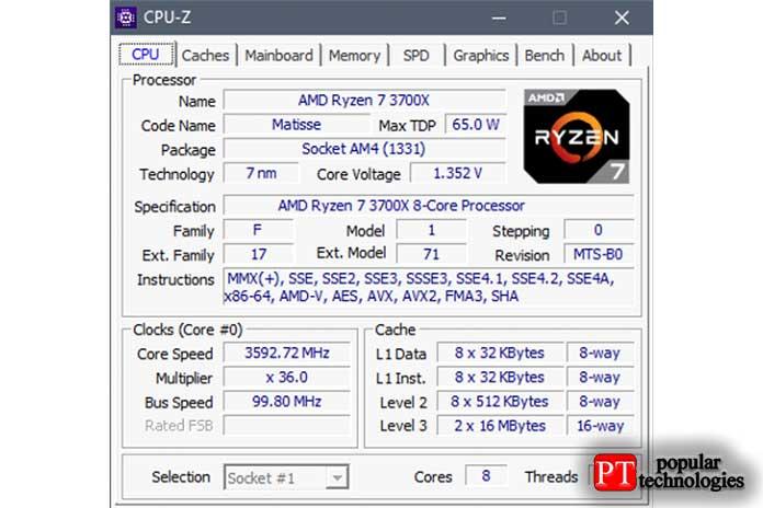 Просматривайте все сведения опроцессоре внутри вашегоПК спомощью приложения CPU-Z