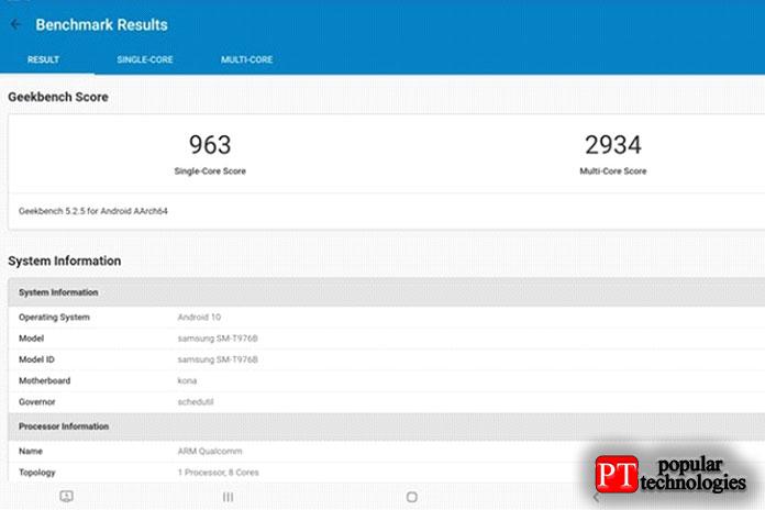 Результаты теста Samsung Galaxy Tab S7+ Geekbench