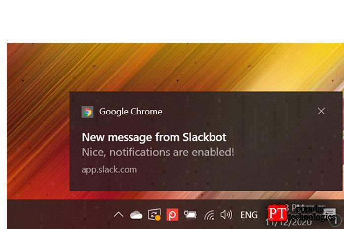 Уведомления Google Chrome в Windows 10 отображаются в правом нижнем углу