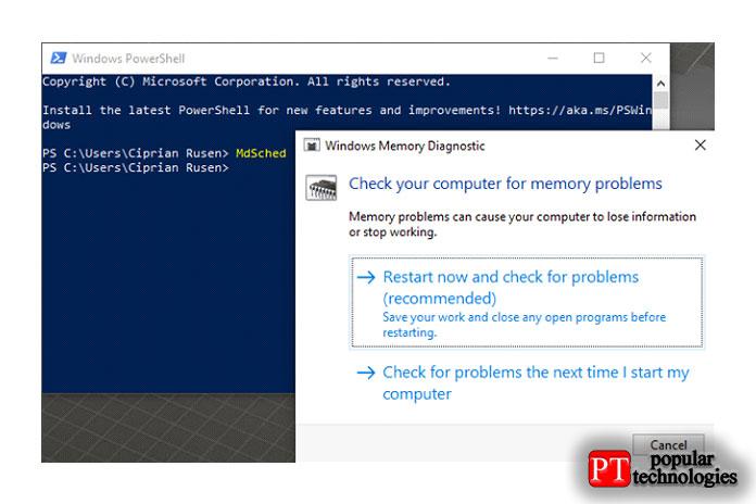 Запустите диагностику памяти Windows изPowerShell