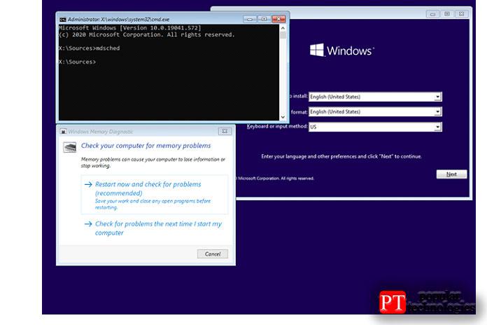 Запустите диагностику памяти Windows изустановки Windows 10