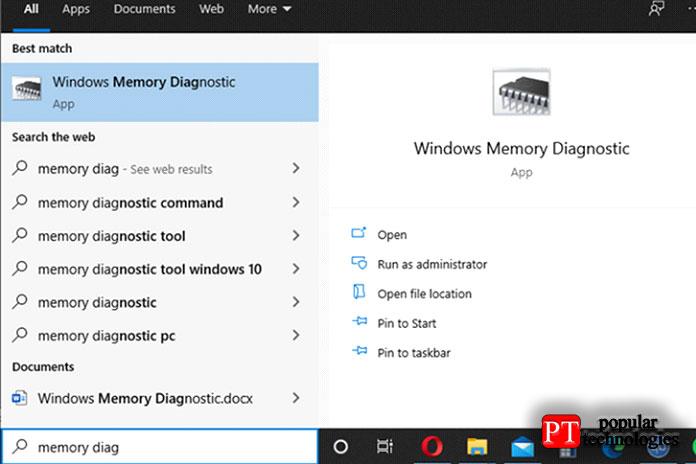 Запустите диагностику памяти Windows с помощью поиска в Windows 10