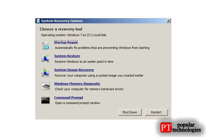 Запустите диспетчер диагностики Windows сдиска восстановления системы Windows7