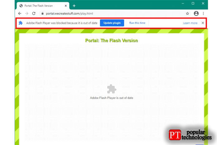 Adobe Flash Player заблокирован, потому что онустарел