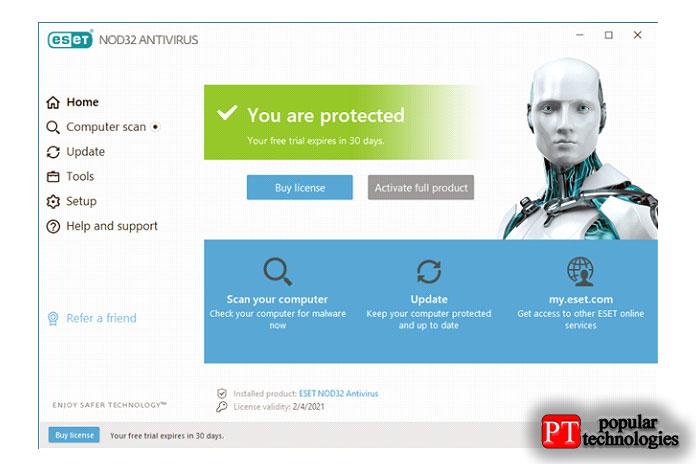 Домашняя страница пользовательского интерфейса ESET NOD32 Antivirus