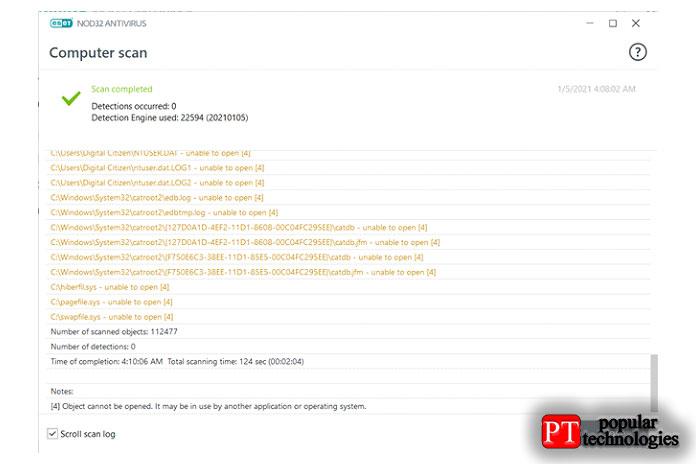 ESET NOD32Antiviru время полного сканирования системы