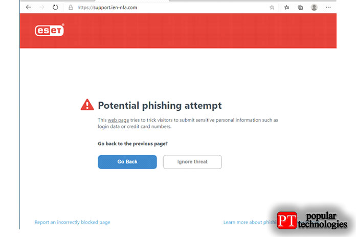 ESET NOD32 Antivirus блокирует фишинговый веб-сайт