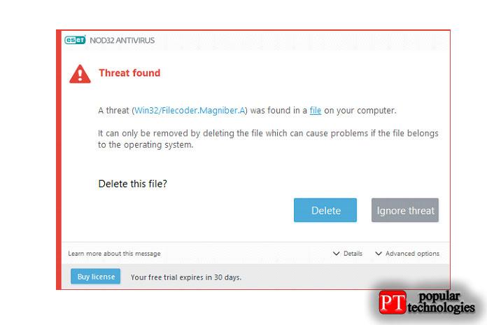 ESET NOD32 Antivirus обнаружение иудаление вредоносных программ