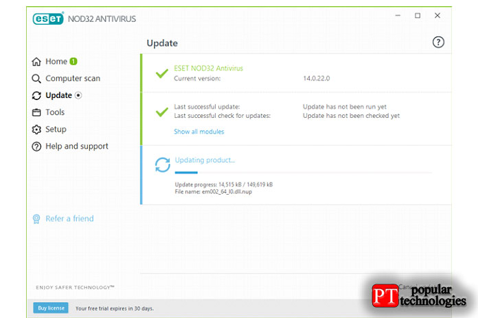 ESET NOD32 Antivirus обновляет свою базу данных вредоносных программ