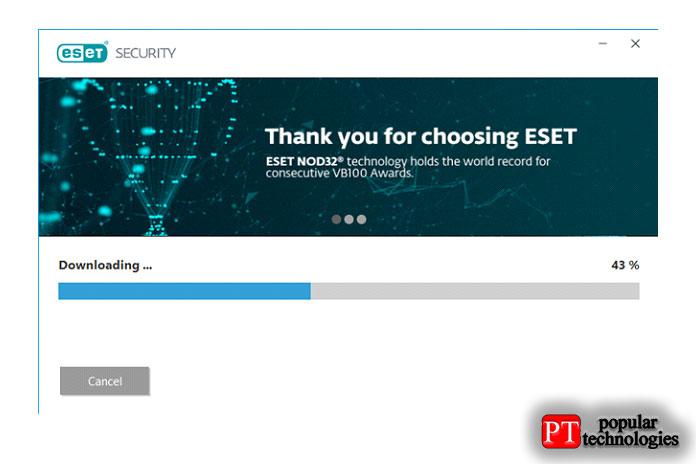 Мастер загрузит файлы, необходимые для установки ESET NOD32 Antivirus