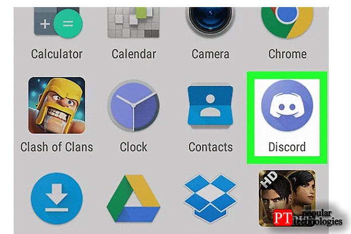 Откройте приложение Discord на своём устройстве