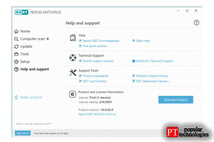 Параметры справки иподдержки, предлагаемые ESET NOD32 Antivirus