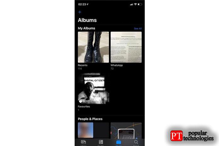 Просмотрите папки вФото, чтобы найти нужный фон iPhone