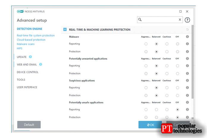 Расширенные параметры настройки отESET NOD32 Antivirus