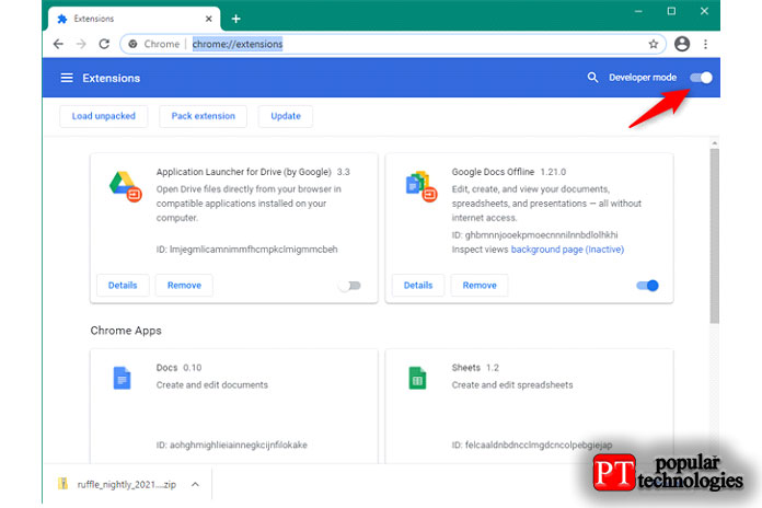 Включение режима разработчика вGoogle Chrome