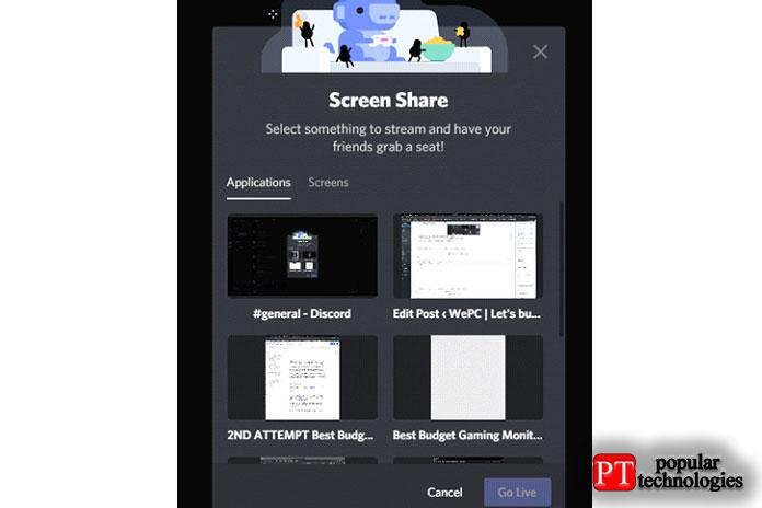 Выберите экран или приложение, которым хотите поделиться