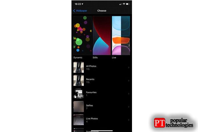 Выберите изображение или один изфонов iPhone поумолчанию