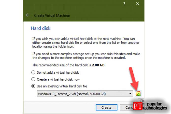 Наследующем экране вместо создания нового жёсткого диска выберите