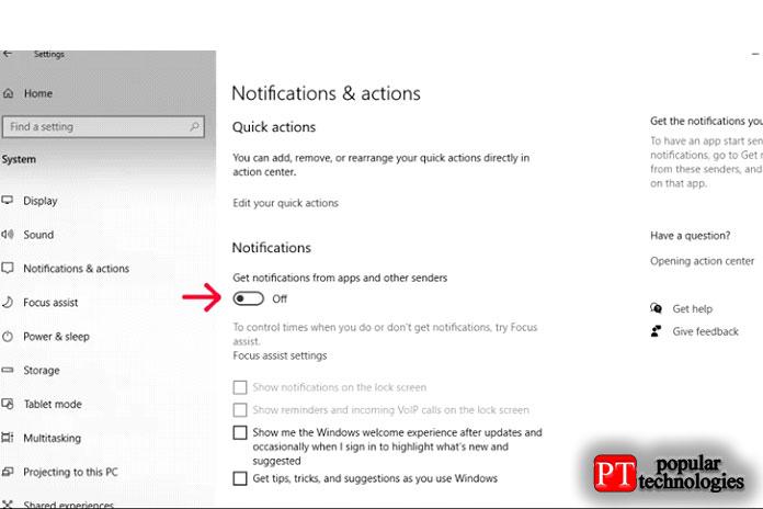 Отключите Уведомления в строке «Получать уведомления от приложений»