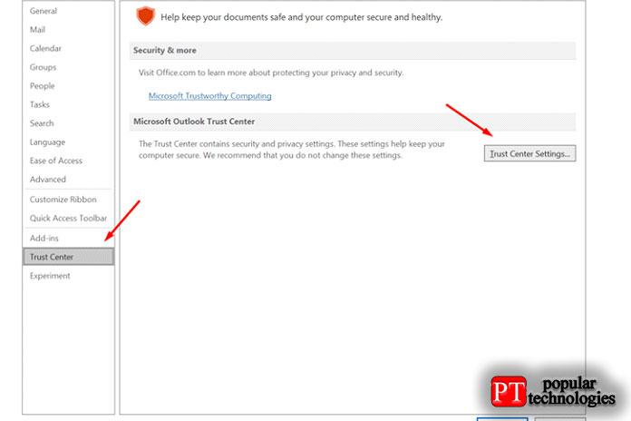 Перейдите вФайл Параметры Центр управления безопасностью