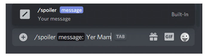 Пометить текстовое сообщение как спойлер вDiscord