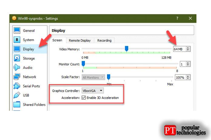 Видеопамять до64МБ, также отметьте галочкой «Включить 3D-ускорение»