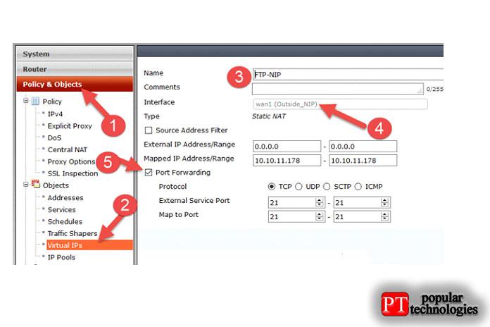 Включите переадресацию портов ивведите номер порта 21в качестве порта