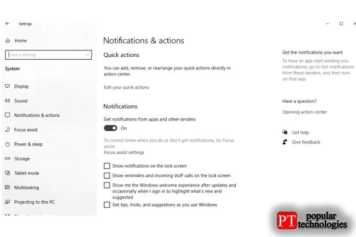 Выберите «Уведомления и действия» на левой панели