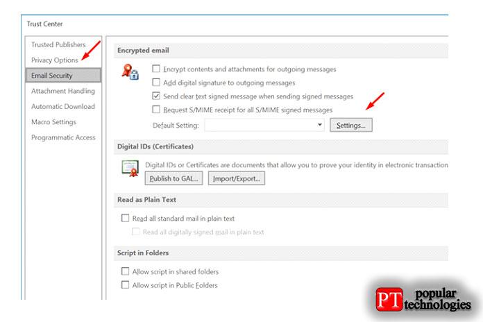 Выберите вкладку «Безопасность электронной почты» на левой панели
