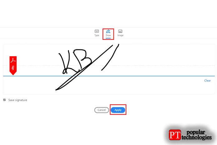 Если выхотите нарисовать свою подпись вручную, вам нужно будет переключиться навкладку