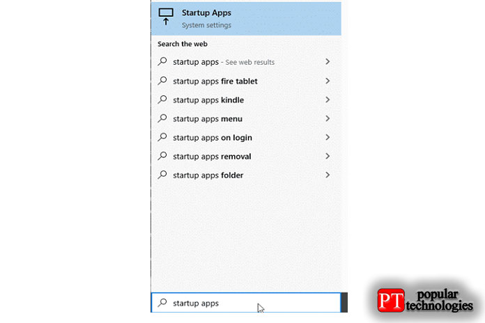 Нажмите клавишу Windows и выполните поиск «Автозагрузка приложений»