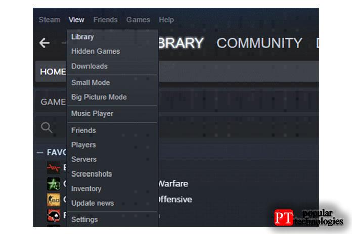 Откройте Steam инажмите «Просмотр» вменю вверху слева