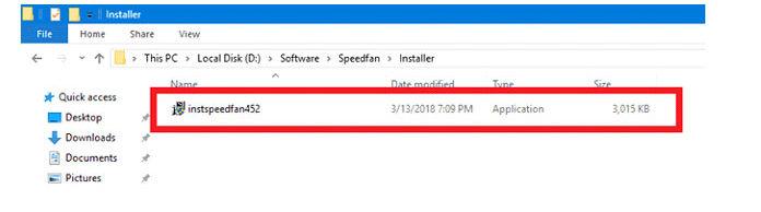 Откройте иустановите загруженное программное обеспечение SpeedFan