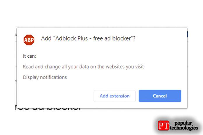 Подтвердите установку AdBlock Plus