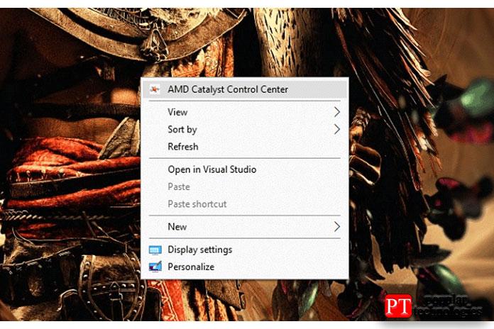 Щелкните правой кнопкой мыши нарабочем столе ивыберите AMD Catalyst Control Center