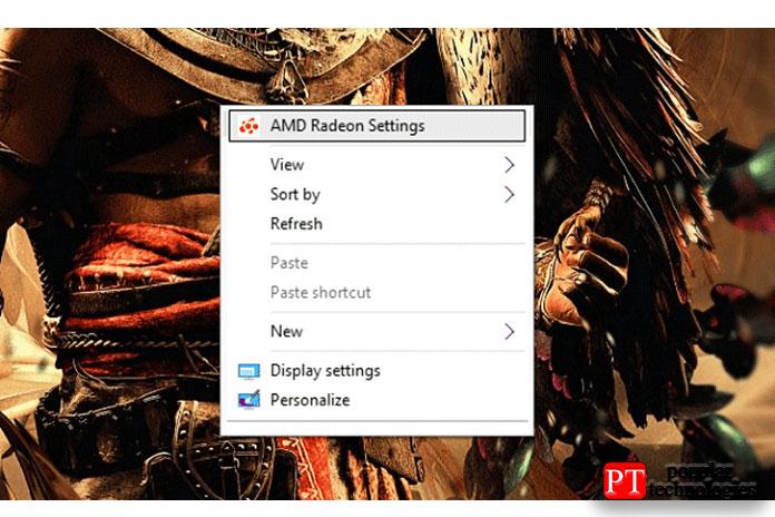 Щелкните правой кнопкой мыши нарабочем столе ивыберите AMD Radeon Settings