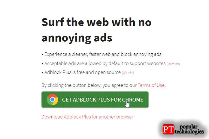 Щёлкните вкладку «Получить AdBlock Plus для Chrome»