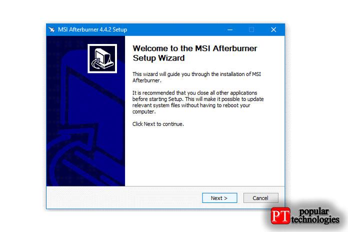 Следуйте инструкциям наэкране, чтобы установить MSI Afterburner