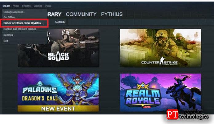 Убедитесь, что Steam обновлён